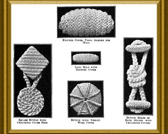 Crochet Buttons Pattern from 1915 Downloadable PDF Vintage Pattern