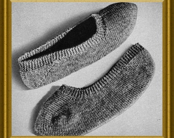 Knitting Pattern For Ladies Bed Socks : Knit Slippers Pattern - Knitted Bed Socks Vintage 1952 PDF