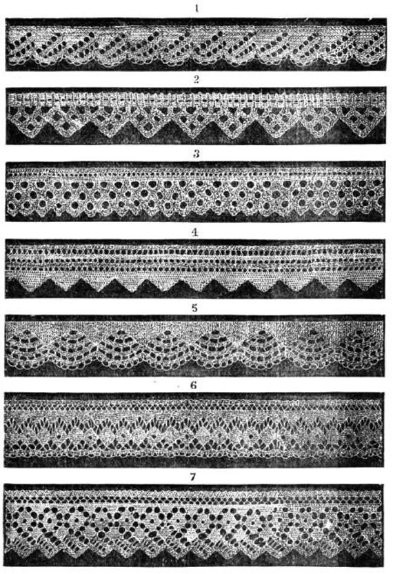 Knitted Lace Edging Patterns : Items similar to Knitted lace edgings 7 Victorian knitting patterns in Set 1 ...