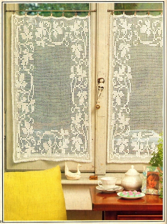 Filet Crochet Cottage Curtains Vintage Crochet Pattern