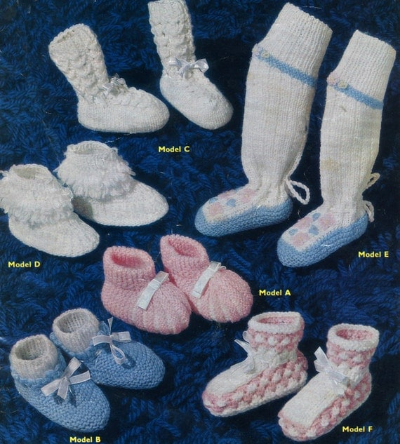 Baby Booties and Socks Vintage English knitting pattern 1950s PDF