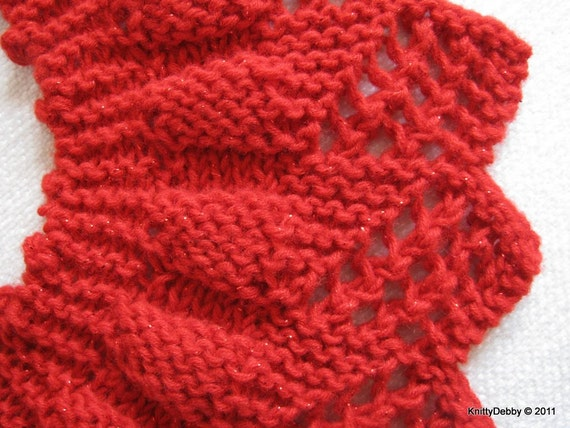 Knitting Pattern Lace Collar : Lace Collar or Scarf knitting pattern Candy Apple Red design