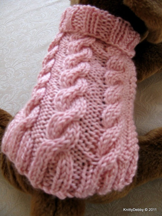 Knitting Pattern For A Small Dog Coat : Hand knit Dog Sweater Aran cable design Free by KnittyDebby