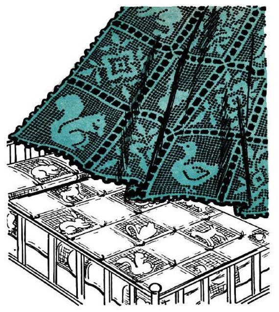Crochet Baby Blanket Spread Vintage Filet crochet pattern from 1951 PDF 9 block designs