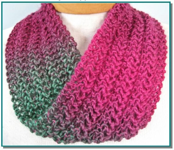 Beginner Knit Scarf Patterns : Infinity Scarf knitting pattern Knit Lace Easy for beginner