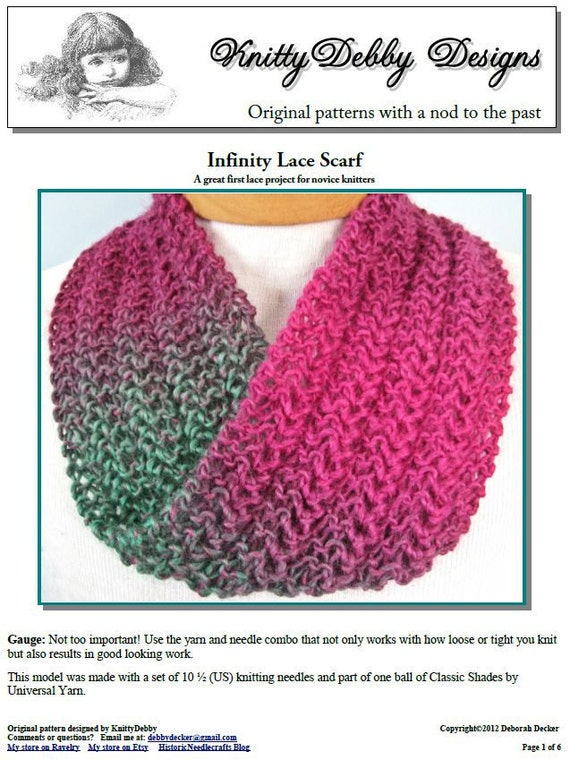 Knitting Lace Patterns For Beginners : Infinity scarf knitting pattern knit lace easy for