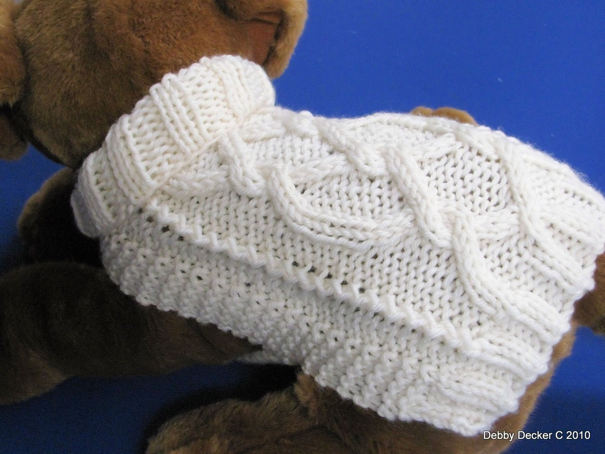 Dog sweater knitting pattern easy pdf aran pretzel twist - Knitting for dogs sweaters ...