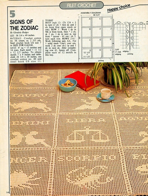 Signs of the Zodiac Filet Vintage crochet pattern