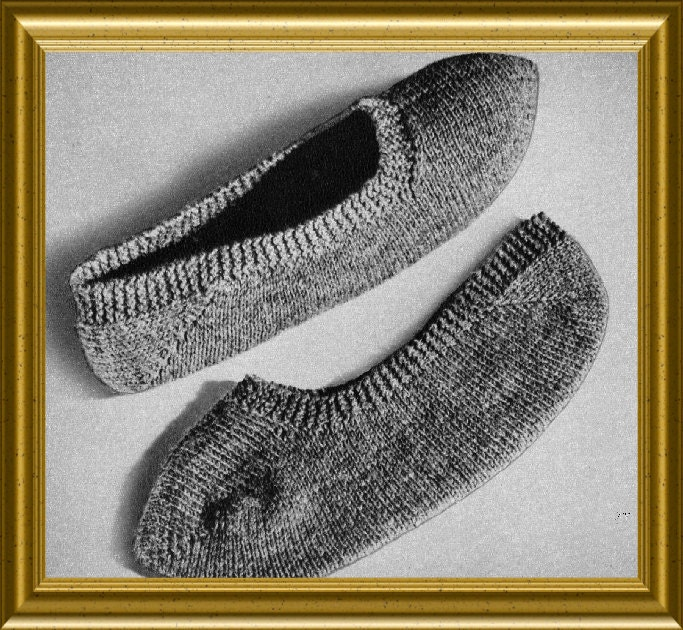Knit Slippers Pattern Knitted Bed Socks Vintage 1952 PDF