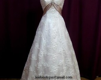 CM1029 Lace Overlay A-line Wedding Dress with Empire Waist and Cap Sleeves | Lace Wedding Dress