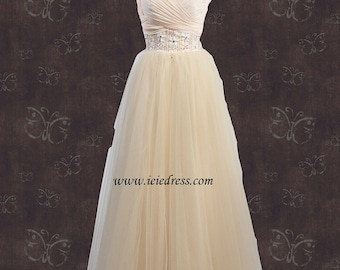 Champagne Beige Tulle Pagent Prom Formal Evening Gown Size 2