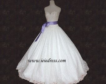 Bride Wars Inspired Princess Strapless Lace Ball Gown Wedding Gown Y11083