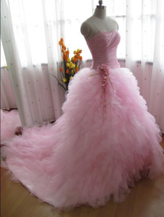 Pink wedding dress pink prom dress pink princess ball gown for Pink ruffle wedding dress