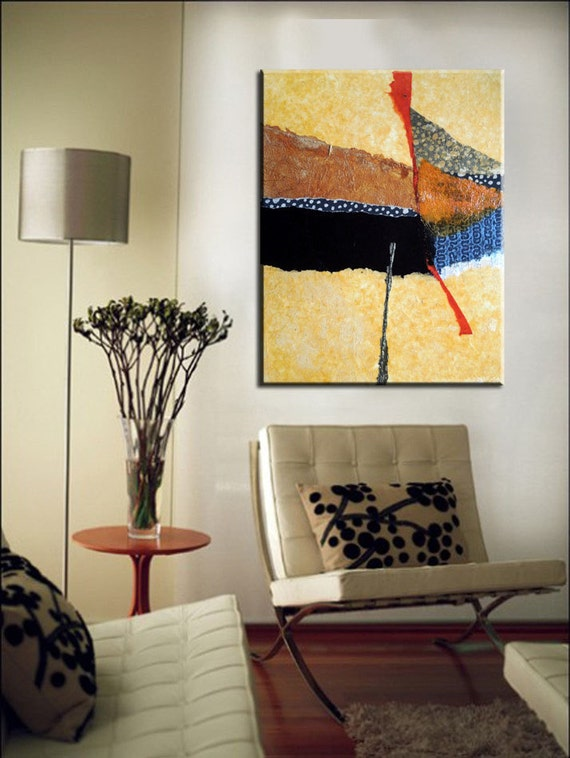 Mixed media contemporary abstract painting