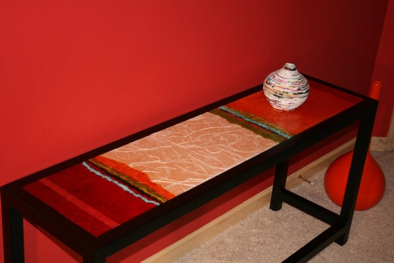 Reserved for Los Angeles  Contemporary abstract painted steel console table