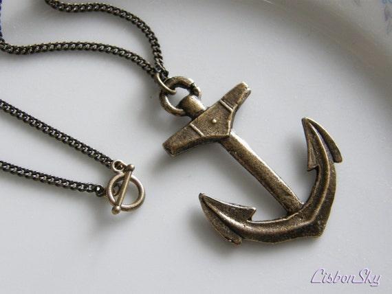 Popeye Unisex Antiqued Brass Anchor Necklace