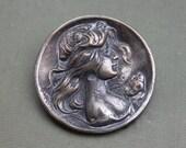 Large Silver Art Nouveau Goddess Repousse Cameo Brooch