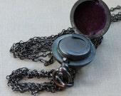 """Victorian Gunmetal Sovereign Coin Case Locket with 59"""" Guard Chain Necklace / 19th Century Vampire"""