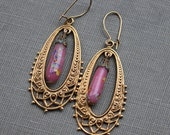 Antique Sugar Glass Gold Filigree Earrings