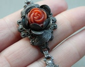 Victorian Carved Coral and Silver Rose Bracelet