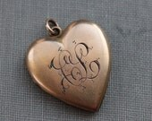 Victorian Gold Heart Locket with Monogram - C L