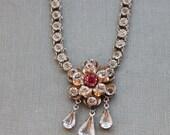 Edwardian French Paste Bezel Necklace / Fleur Rose du Printemps