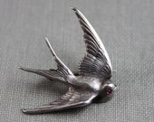 Victorian Sterling Swallow Bird Brooch / Ancient Love Token