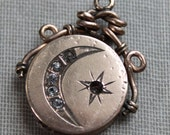 Victorian Paste Crescent Moon and Star Locket Fob