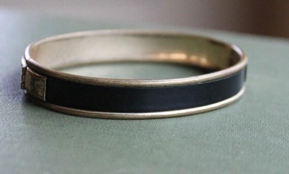 Victorian Mourning Hinged Bangle Bracelet