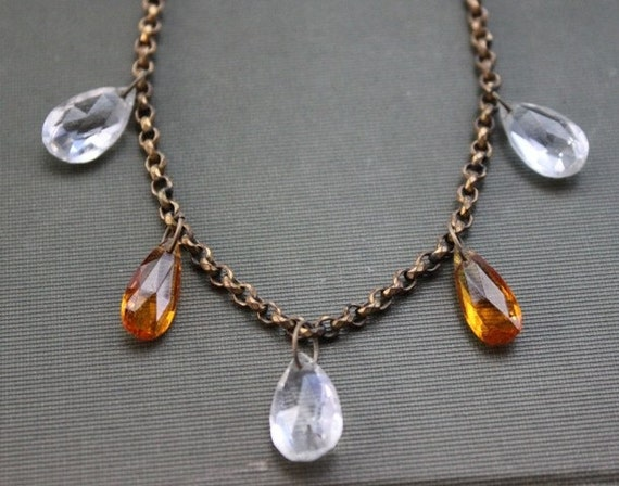 RESERVED LISTING / Victorian Citrine Crystal Drop Necklace with Ornate Gold Belcher Chain