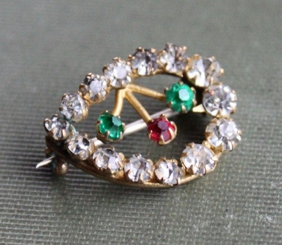 Victorian Paste Tear Drop Brooch - Green, Red and Clear Stones