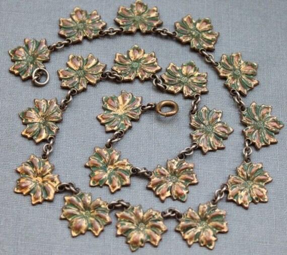 Victorian Green Enamel Flower Collar Necklace