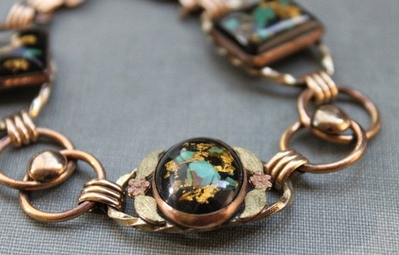 The Miner's Daughter - Antique Conley Paperweight Turquoise and Pyrite Gold Glass Necklace