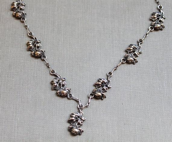 Art Nouveau Silver Rose Lavalier Necklace