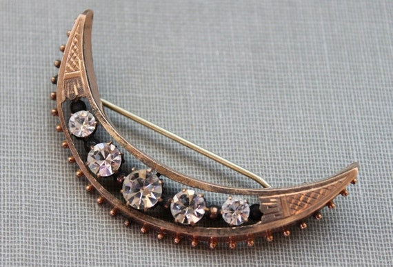 Large Victorian Rose Gold Paste Crescent Moon Brooch