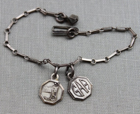 Art Deco Silver Volleyball Charm Bracelet