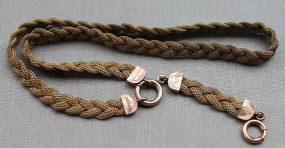 Stunning Victorian Braided Mesh Lavalier Collar Locket Necklace