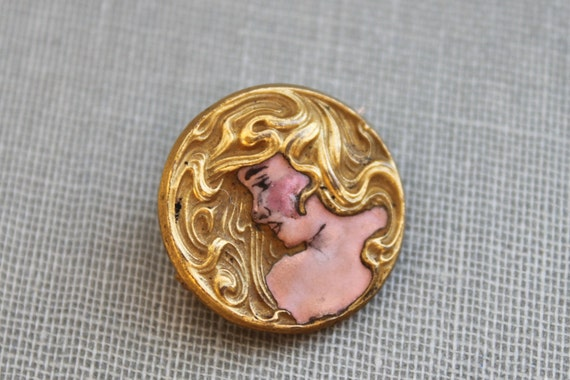 Art Nouveau Hand Painted Gold Repousse Cameo Brooch