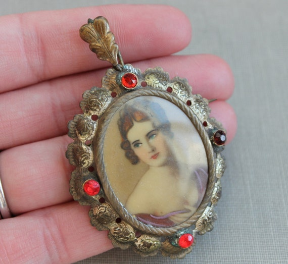 Large Hand Painted Miniature Portrait Brooch or Pendant