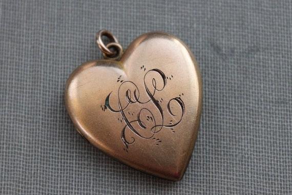Victorian Gold Heart Locket with Monogram - C L