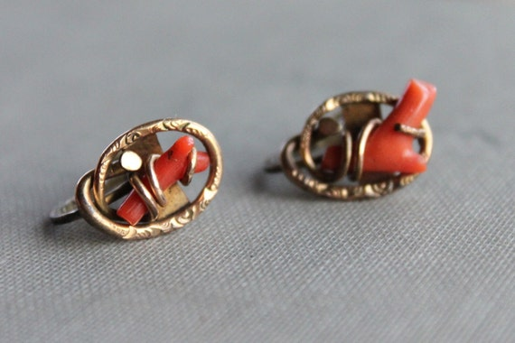 Victorian Sterling Branch Coral Love Knot Earrings
