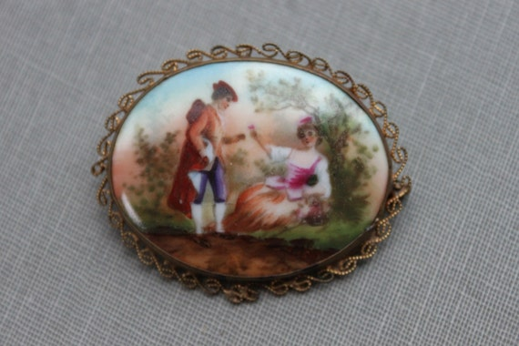 Antique Hand Painted Czech Portrait Brooch in Gold Filigree / The Courting Couple