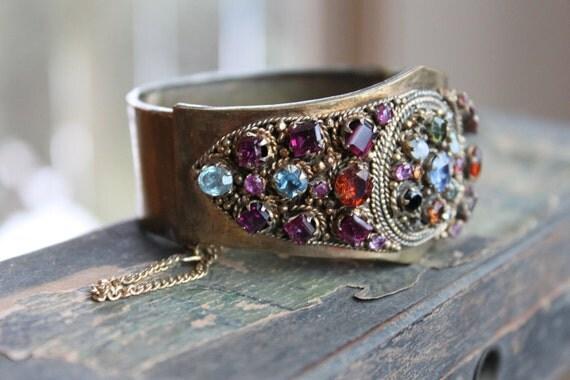 Baroque Victorian Wide Jeweled Medieval Bracelet
