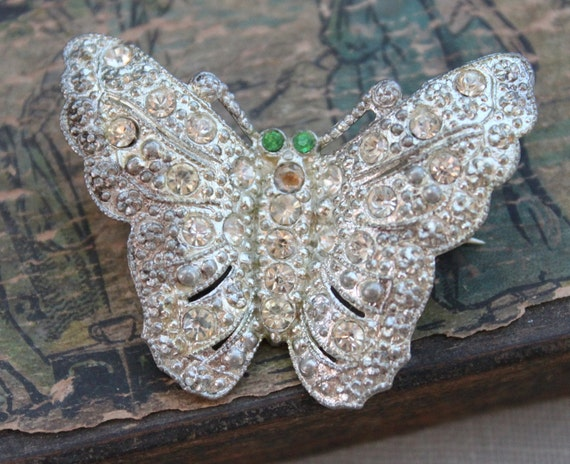 Art Deco Paste Butterfly Brooch