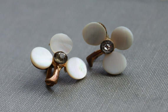 Edwardian Mother of Pearl and Paste Clover Earrings