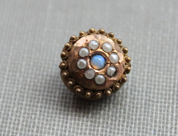 Victorian Etruscan Opal and Seed Pearl Slide Charm