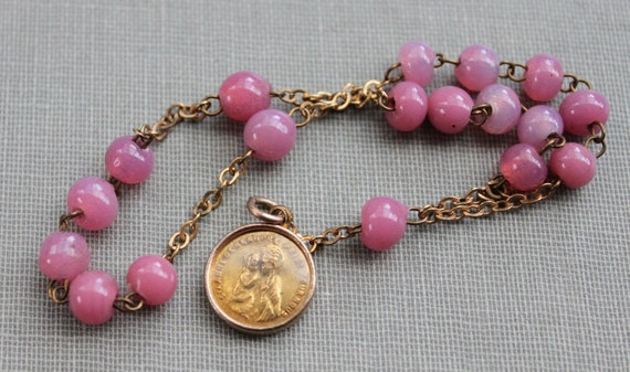 Edwardian Pink Glass St. Anne Chaplet // Gorgeous Encased French Medal