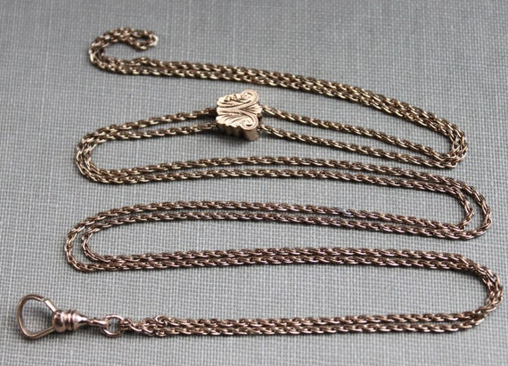 Long Victorian Watch Chain Necklace with Gold Butterfly Slide // HHB & Co