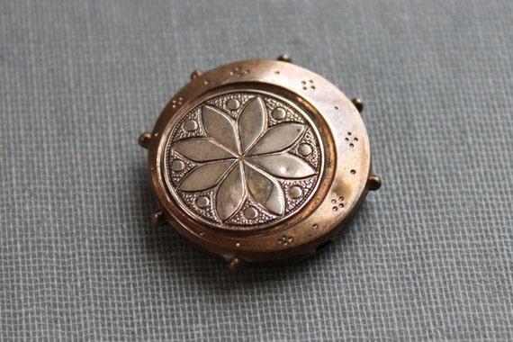 Victorian Secret Compartment Pendant // Moon Flower