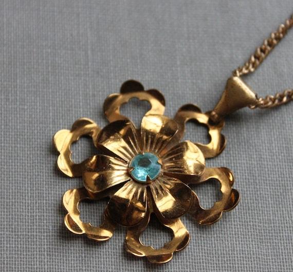 Antique Aqua Bloom Necklace